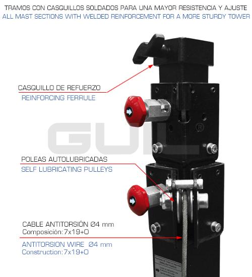 Elevador industrial resistente. Torres GUIL