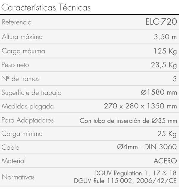 Características Elevador ELC-720