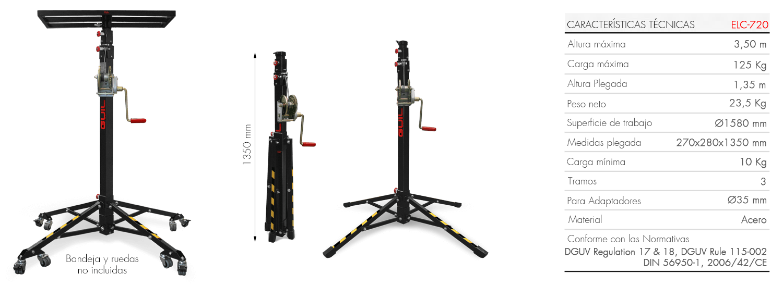 Elevador con bandeja para la instalación de aire acondicionado