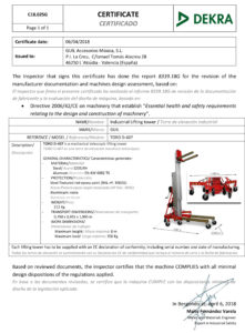Torre de elevación Industrial con certificado DEKRA