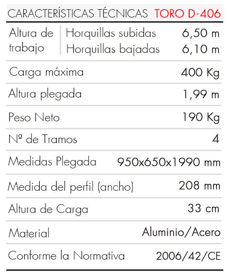 Elevador-de-Carga-TORO-D-406-Tabla