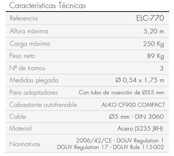 Elevador especificaciones ELC-770-es