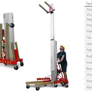 Ficha técnica con cargas y medidas Elevador de Carga TORO C-306