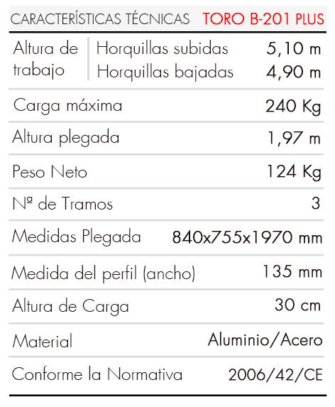 Torre de Elevación TORO B-201 PLUS_es